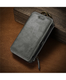 FLOVEME Grey Leather Mobile Wallet Case